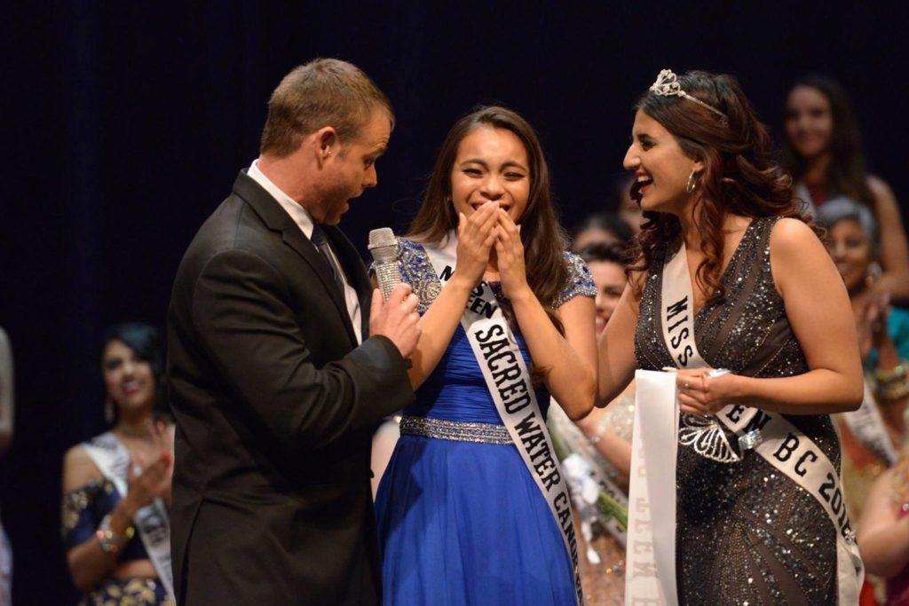 Miss B.C. program producer Darren Storsley (left) speaks with contestants from last year's Miss B.C. pageant (photo by Baneet Braich/Black Press Media files)