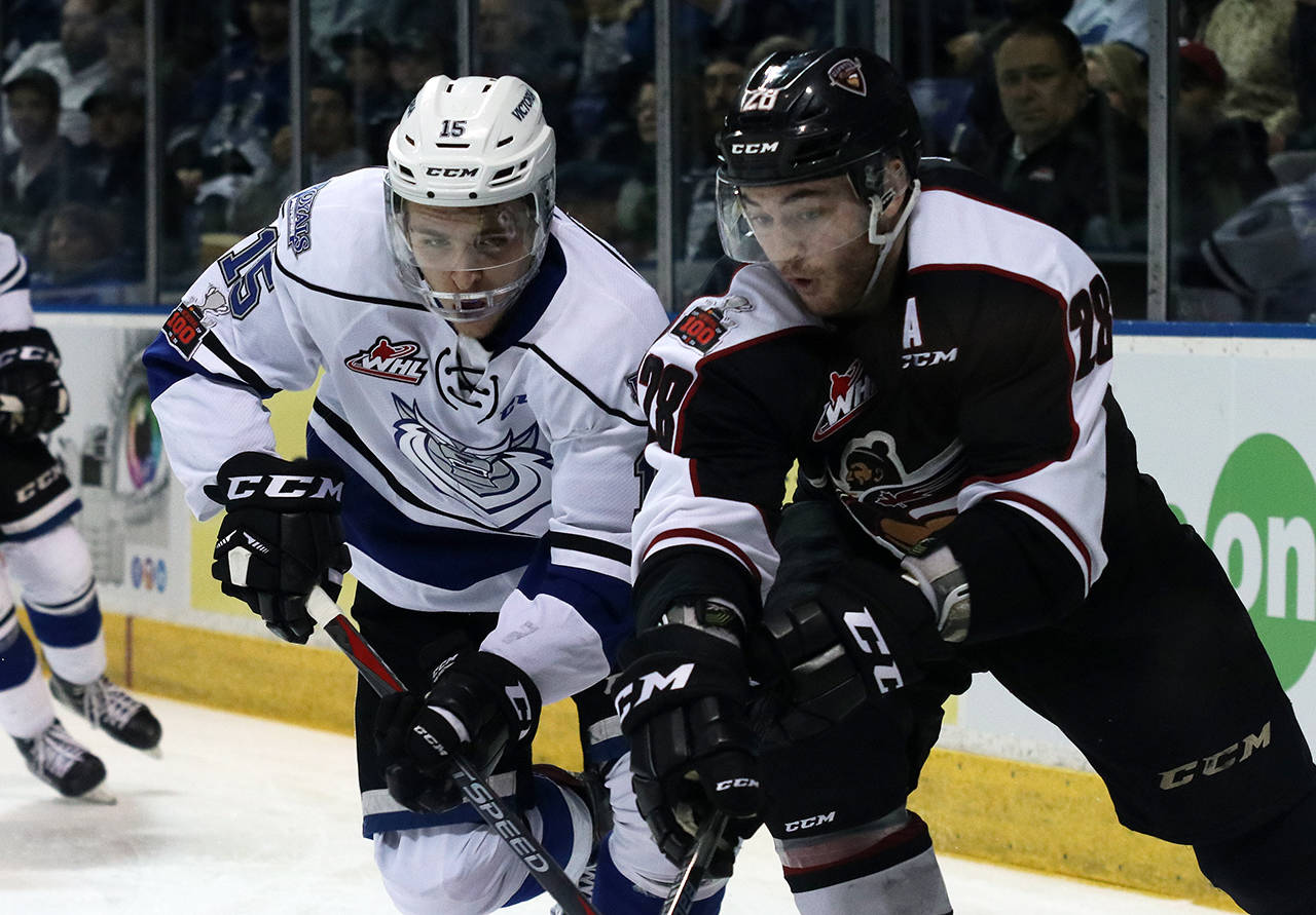 Vancouver Giants Darian Skeoch and Victoria Royals' Igor Martynov during game seven on Tuesday at the Save-On-Foods Memorial Centre. Jon Howe Victoria Royals