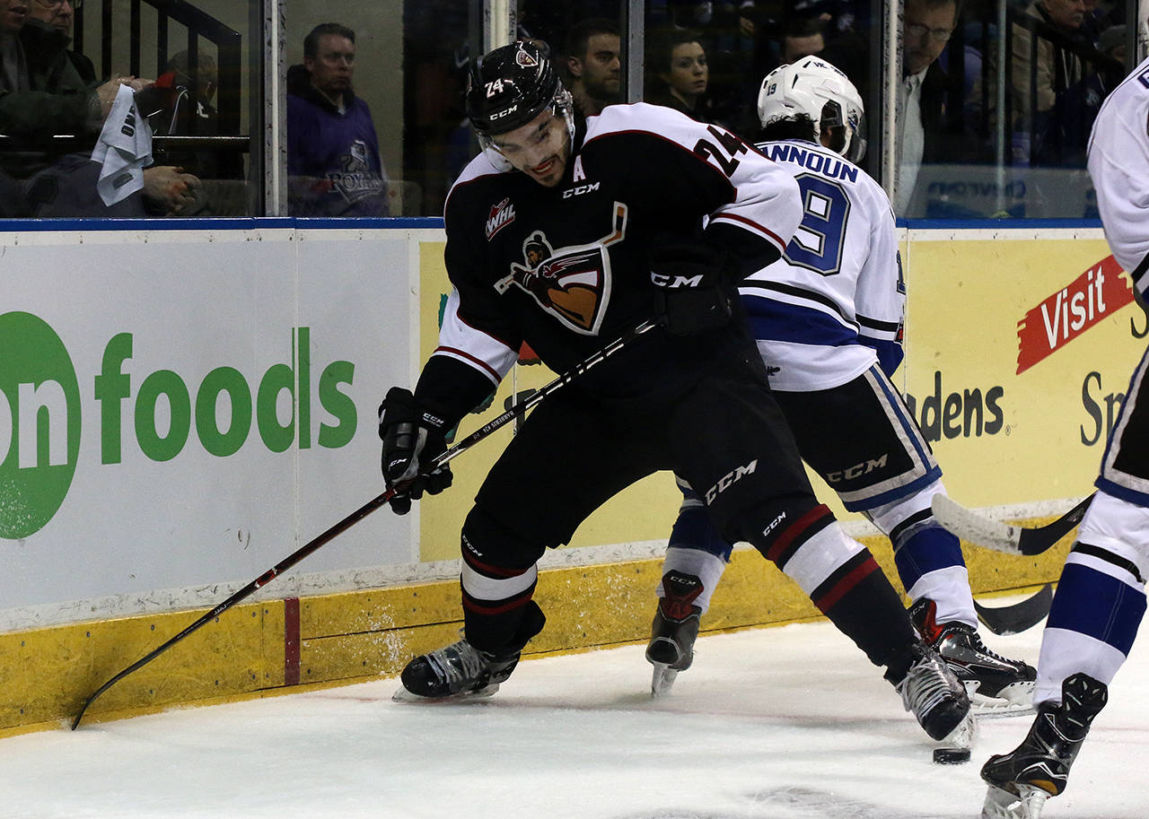 Vancouver's Matt Barberis tries to corral a loose puck during his team's season-ending defeat at the hands of the Victoria Royals. Jon Howe Victoria Royals
