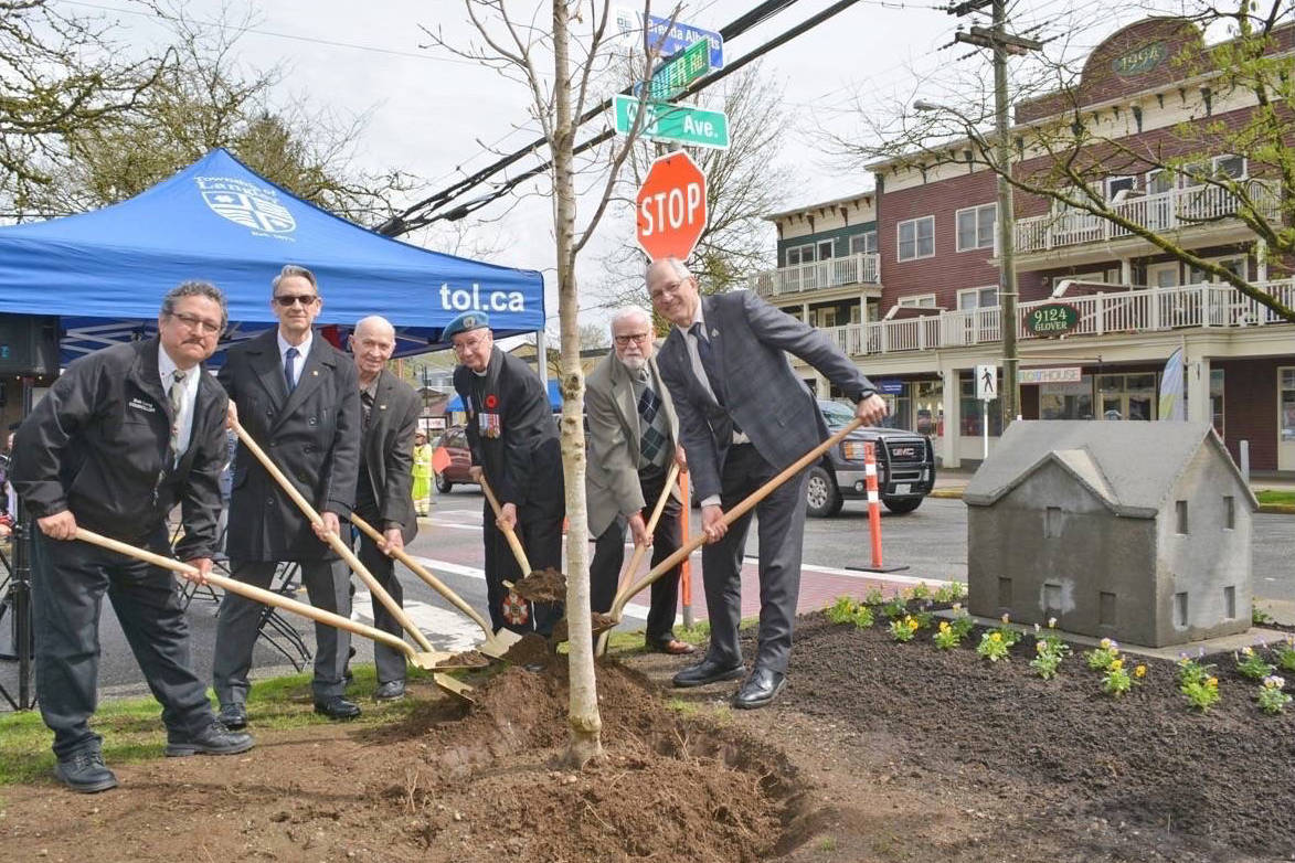 The 2017 Community Arbour Day celebration recognized three people with a memorial tree planting ceremony in Fort Langley. Members of council also replanted the Wilson Memorial Tree (pictured). This year's Arbour Day is taking place Sunday, April 22, from 1 to 3 p.m. at Aldergrove's Philip Jackman Park. Langley Times file photo