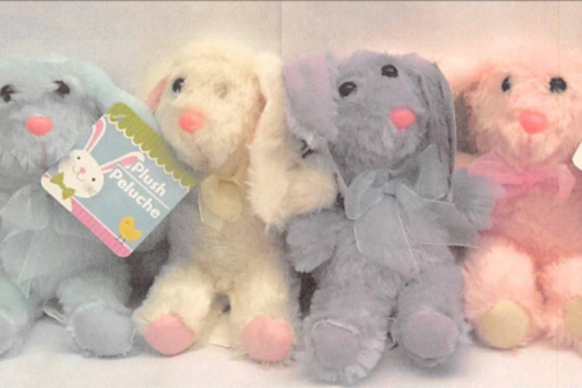 Plush bunnies sold in Dollar Tree Canada stores are being recalled.