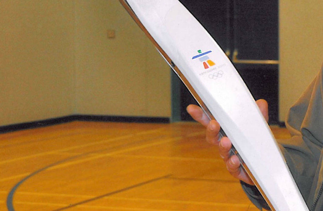 On Feb. 24, a 2010 Vancouver Olympic Games torch similar to this one of medalist Lauren Barwick, was stolen from Aldergrove Secondary School. Barwick is an ACSS alumni. The school wants the torch back 'no questions asked.' Kurt Langmann photo