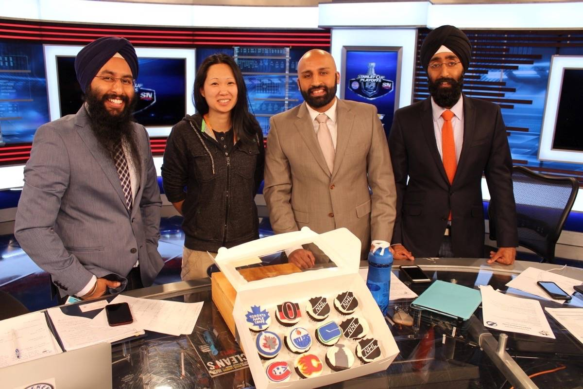 Courtney Szto (second from left) joins Harnarayan Singh, Harpreet Pandher and Bhupinder Hundal on the set of Hockey Night in Canada Punjabi. (Amrit Gill photo)