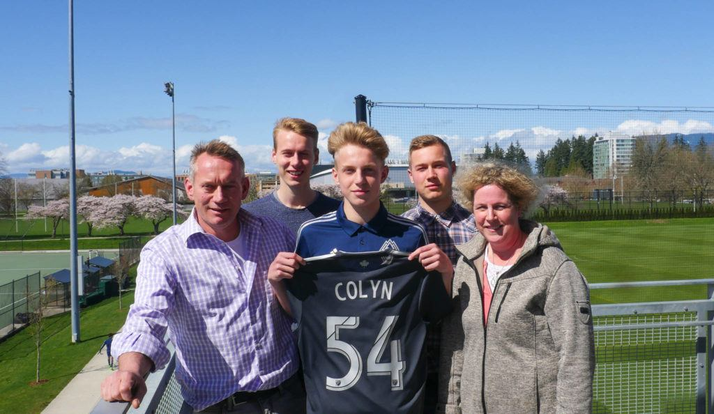 With his family on hand, 16-year-old Simon Colyn of Langley inked an MLS contract with the Vancouver Whitecaps.                                Justin Pelletier Vancouver Whitecaps FC