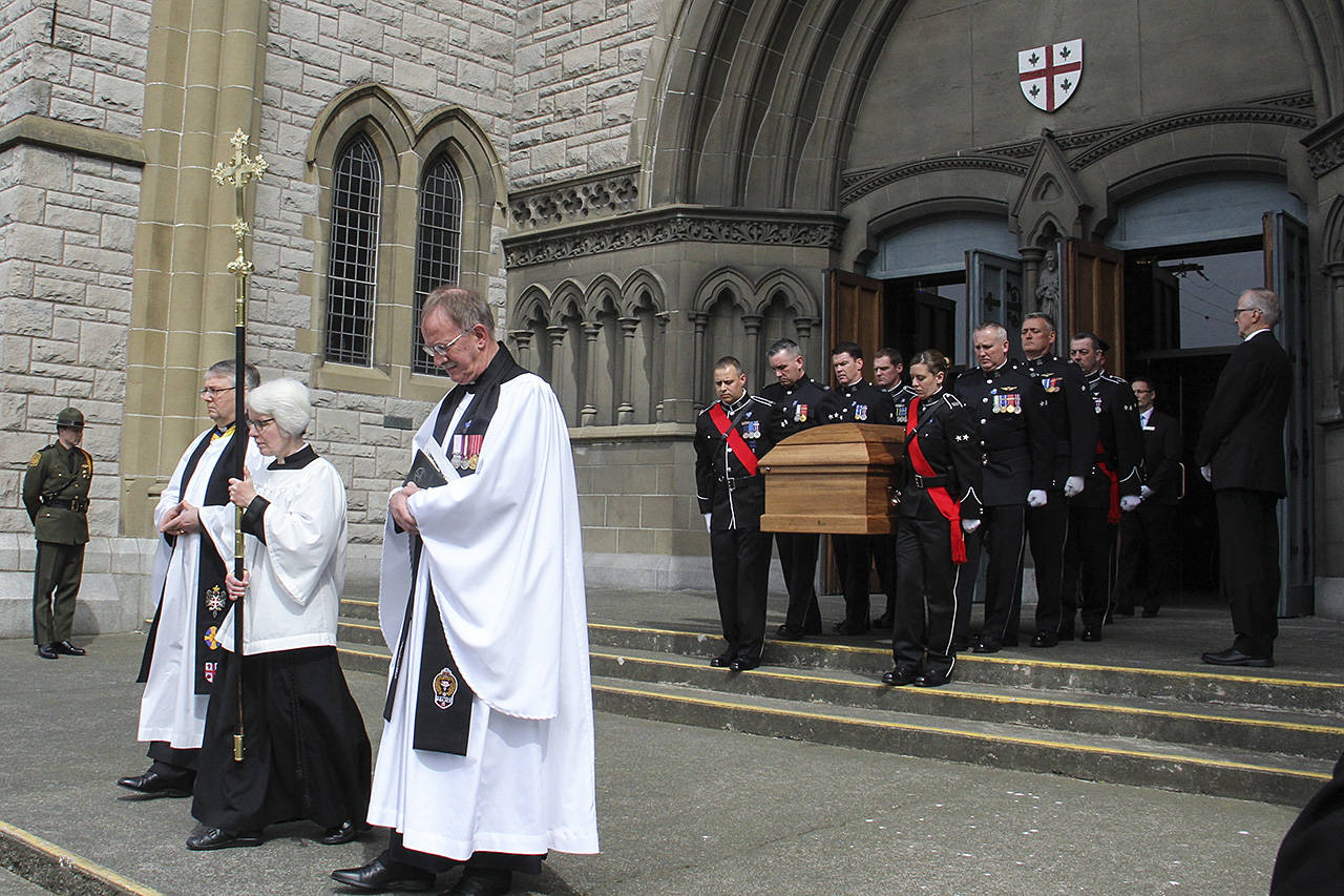 The body of Const. Ian Jordan is taken from the Christ Church Cathedral following the funeral. Jordan passed away after being unresponsive for more than 30 years following an accident in the line of duty. (Christine Van Reeuwyk/Black Press)