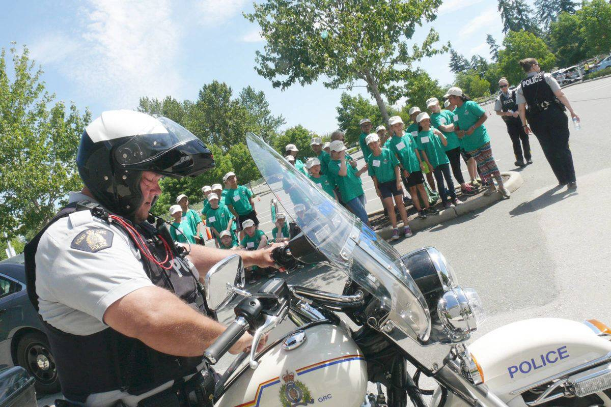 Motorcycle police joined RCMP Jr. Cadets at last year's Langley RCMP Junior Cadet Camp at Langley Events Centre. This year's free three day camp is from July 10-12. Langley Times file photo