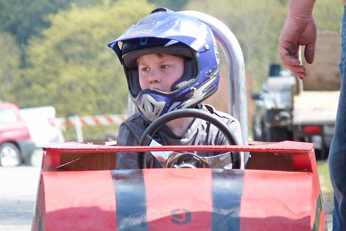 Ty Thornley, 8 was one of more than two dozen competitors in the 41st annual Soap Box Derby put on by the Langley Evangelical Free Church on Sunday. Dan Ferguson Langley Times