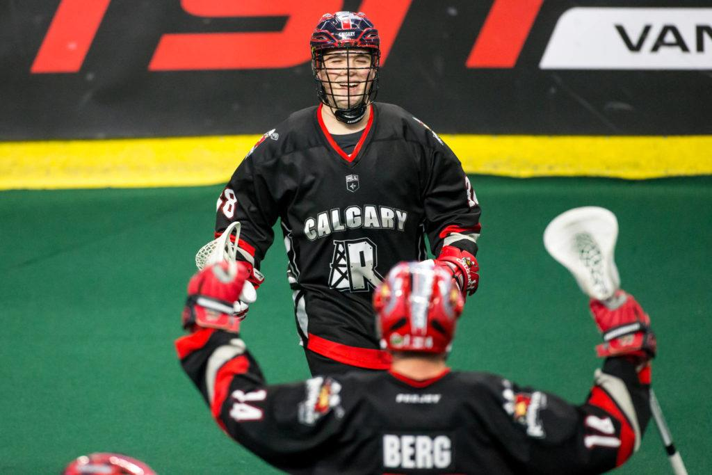 Calgary Roughecks rookie Ryan Martel — a 20-year-old from Aldergrove — celebrates a goal on Saturday night at the Langley Events Centre. Garrett James Langley Events Centre photo