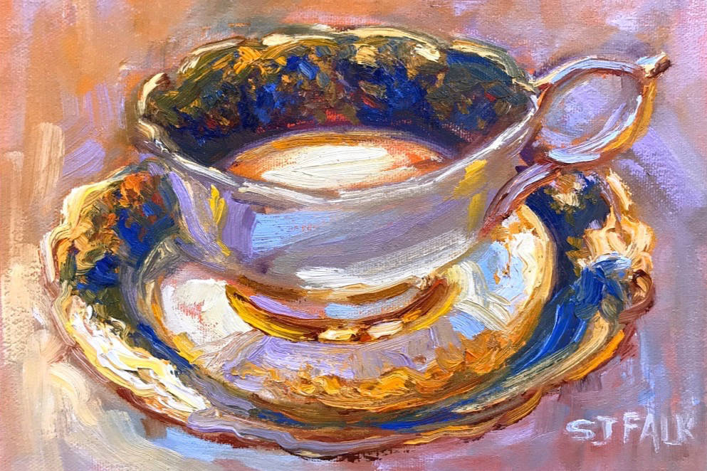 Susan J. Falk's new paintings reference some of the finer things in life — flower gardens and fine china. She recently called on friends and family to send her their most coveted daily heirlooms as inspiration, which resulted in her teacup series. Submitted image