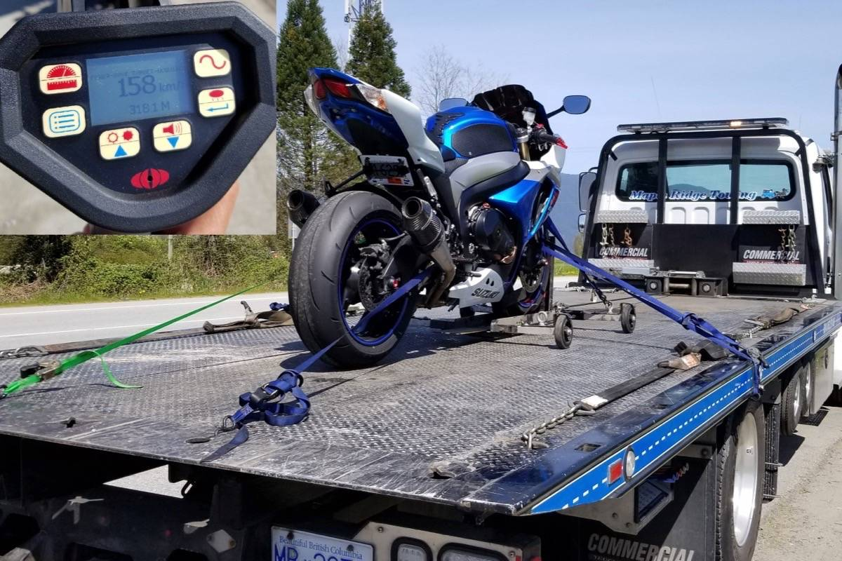 (Contributed)                                A 2009 Suzuki motorcycle is impounded after the driver was caught traveling 158 kilometres per hour going over the Pitt River Bridge Wednesday morning.
