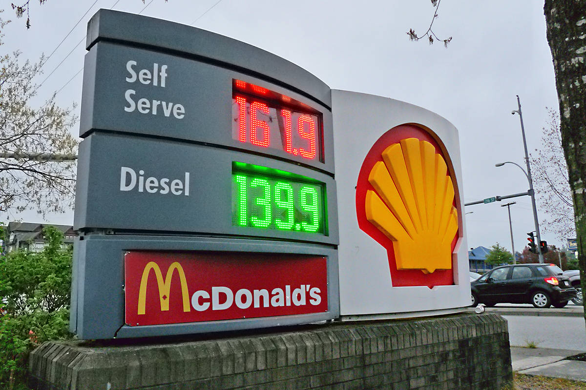 This gas station on Fraser Highway and 216 Street had some of the highest gas prices. Dan Ferguson Langley Times