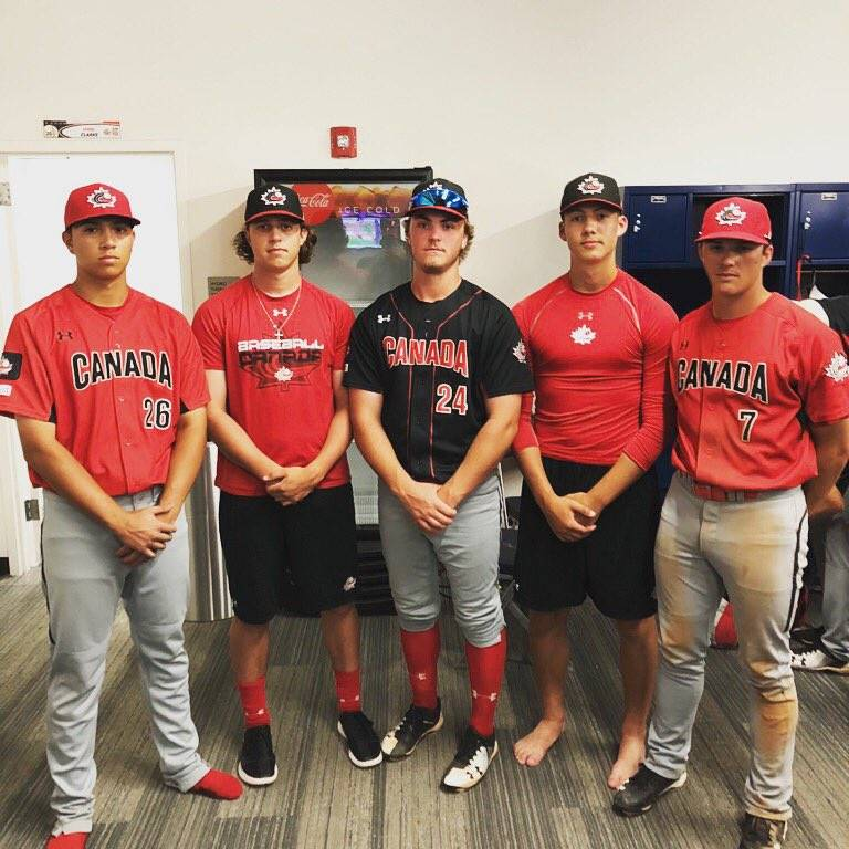 Justin Thorsteinson (left to right), Zack McQuaid, Tate Dearing, Theo Millas and Jayden Knight are back with the Langley Blaze after spending time with the Canadian junior national team program in Florida. Submitted photo