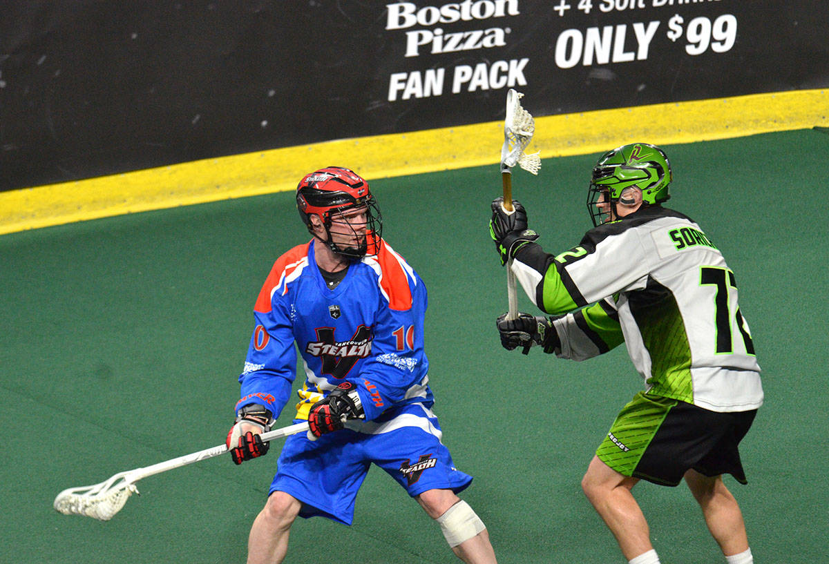 Vancouver Stealth's Rhys Duch scored three times but his team still fell 20-10 in NLL action at the Langley Events Centre on Friday night. Gary Ahuja Langley Times