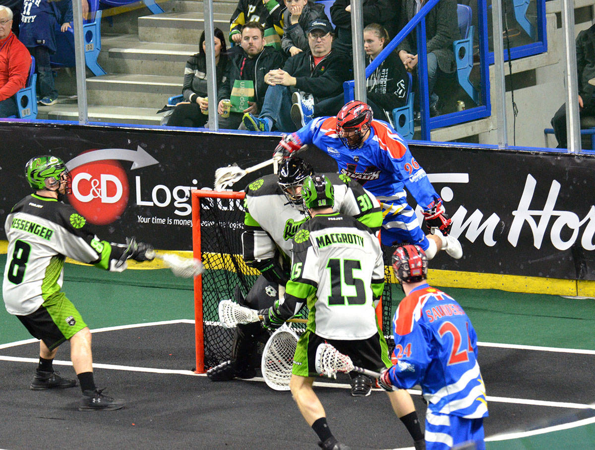 Vancovuer Stealth's Andrew Suitor managed to put the ball into the back of the net past Saskatchewan Rush goaltender Adam Shute, but the goal was waved off because of a crease violation. The Rush won the game 20-10. Gary Ahuja Langley Times