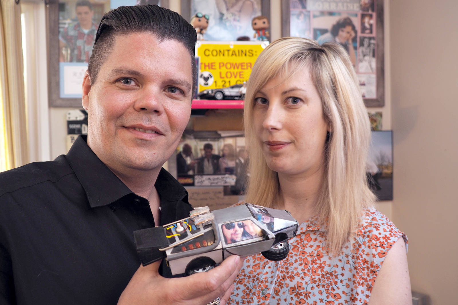 Todd and Nicole Cameron, of Nanaimo, are big movie fans who met over their love of creating costumes of characters in favourite movies, especially from Back to the Future. When it came time to pop the question, Todd crafted a DeLorean engagement ring box and proposed to Nicole at Universal Studios on Back to the Future Day. (CHRIS BUSH/ The News Bulletin)
