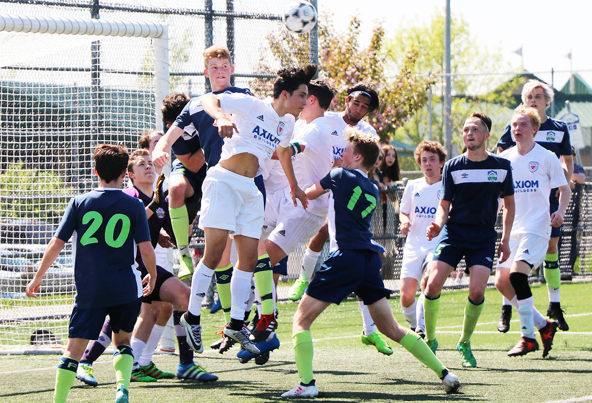 ART BANDENIEKS PHOTOS Fraser Valley Select U18 Boys defending and defeating West Vancouver Rangers 1:0 in BC Coastal Cup soccer action over the weekend at Aldergrove Athletic Park.