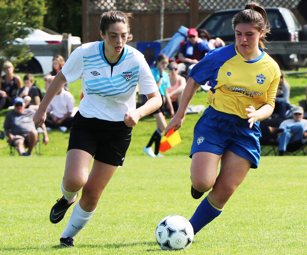 ART BANDENIEKS PHOTO Langley United's U18 girls defeated the North Shore Vipers 3:2 in BC Coastal Cup soccer action over the weekend at Aldergrove Athletic Park. Winners go on to represent the region at the BC Provincial Championships in early July.