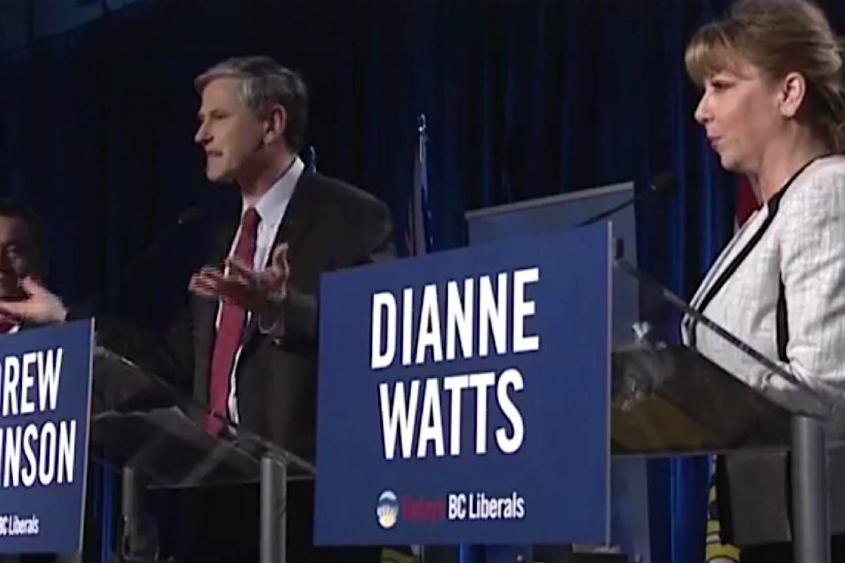 Andrew Wilkinson and Dianne Watts spar in the B.C. Liberals' last leadership debate, Jan. 30, 2018. (Black Press files)