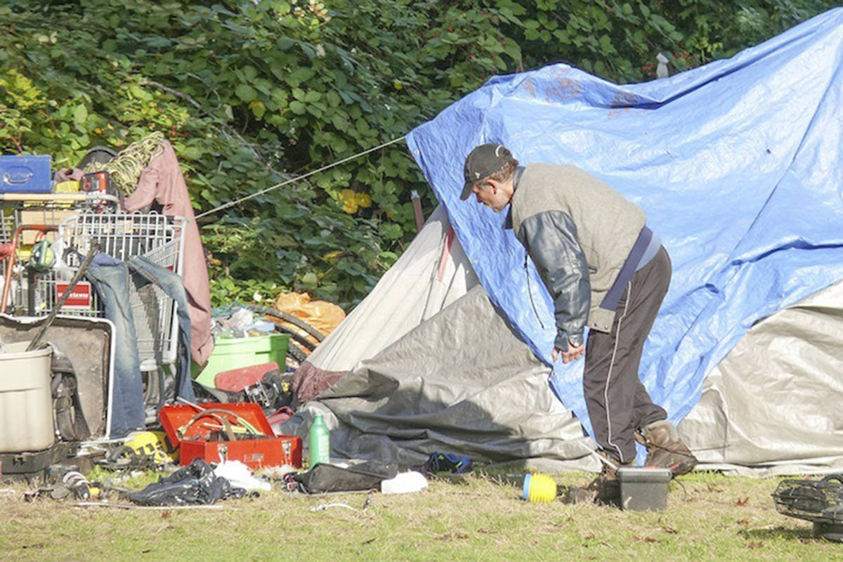 A homeless camp in Langley City. A proposed new bylaw would ban overnight stays by the homeless in one specific location, Douglas Park. File photo