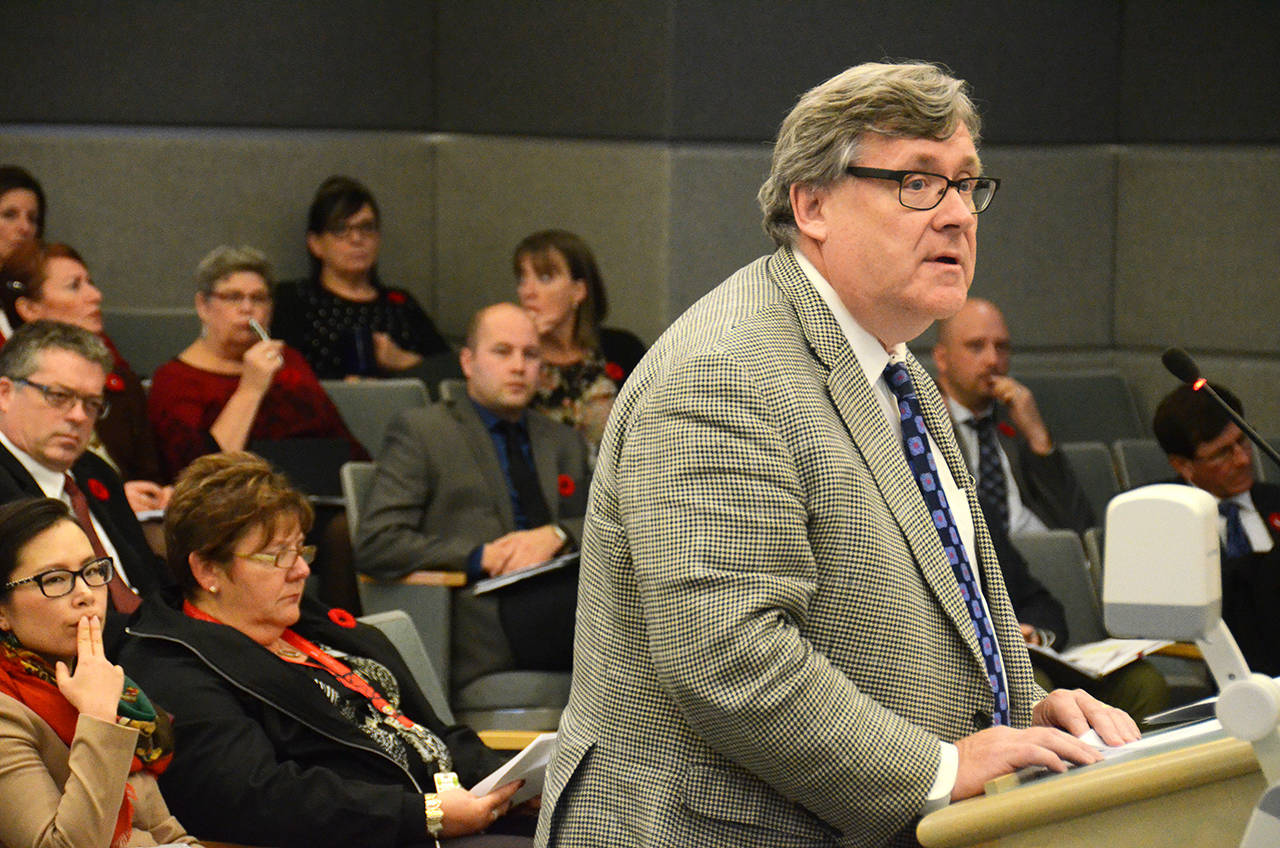 Fraser Health president and CEO Michael Marchbank speaks at the Nov. 7 regular meeting of Chilliwack city council about the worsening opioid crisis. (Black Press Media files)