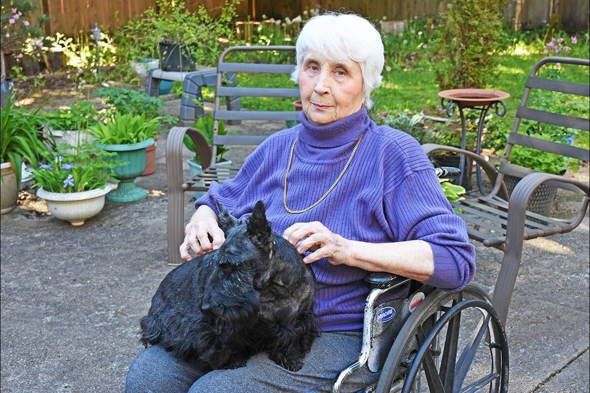 Kieris O'Neill is scared that by the end of May she and her dog will not have a place to call home, because there is nothing available to rent in Maple Ridge. (Neil Corbett/THE NEWS)