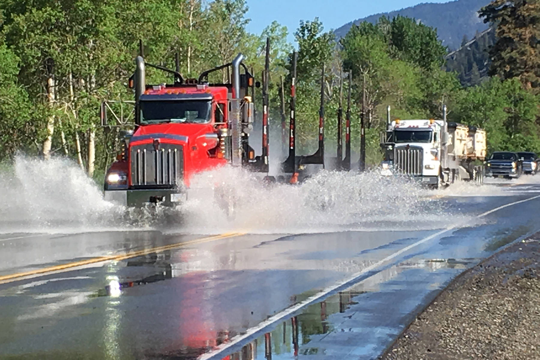 Water is expected to force the closure of Highway 3 in several spots when the Similkameen River rises again laster this week. (File photo)