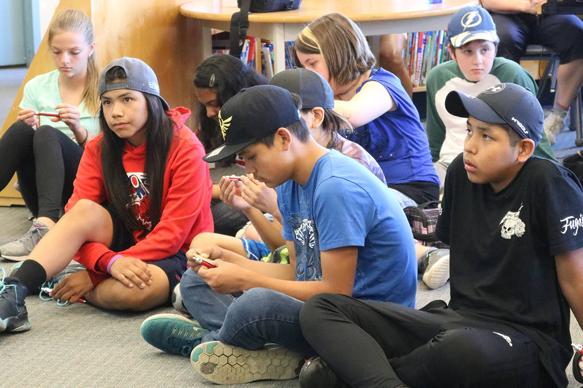 Students at Shoreline Community Middle School in Great Victoria participate in the kick off tour on child and youth rights by the Representative for Children and Youth. (Lindsey Horsting/News Gazette staff)