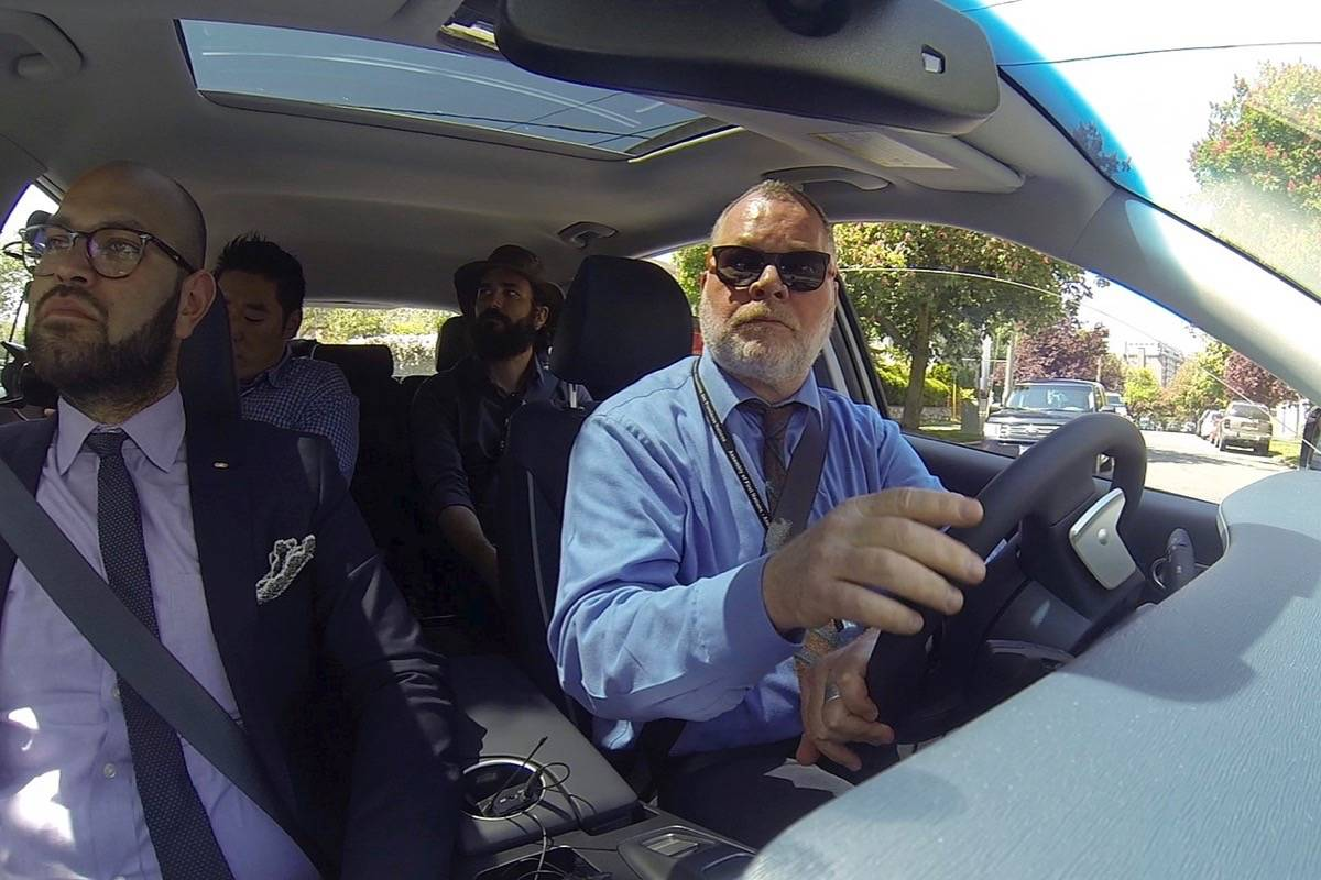 Faizan Agha, manager of advanced product development for Hyundai Canada, accompanies Black Press reporter Tom Fletcher on a test drive in the prototype Hyundai Nexo hydrogen fuel cell sport utility. (Arnold Lim/Black Press)