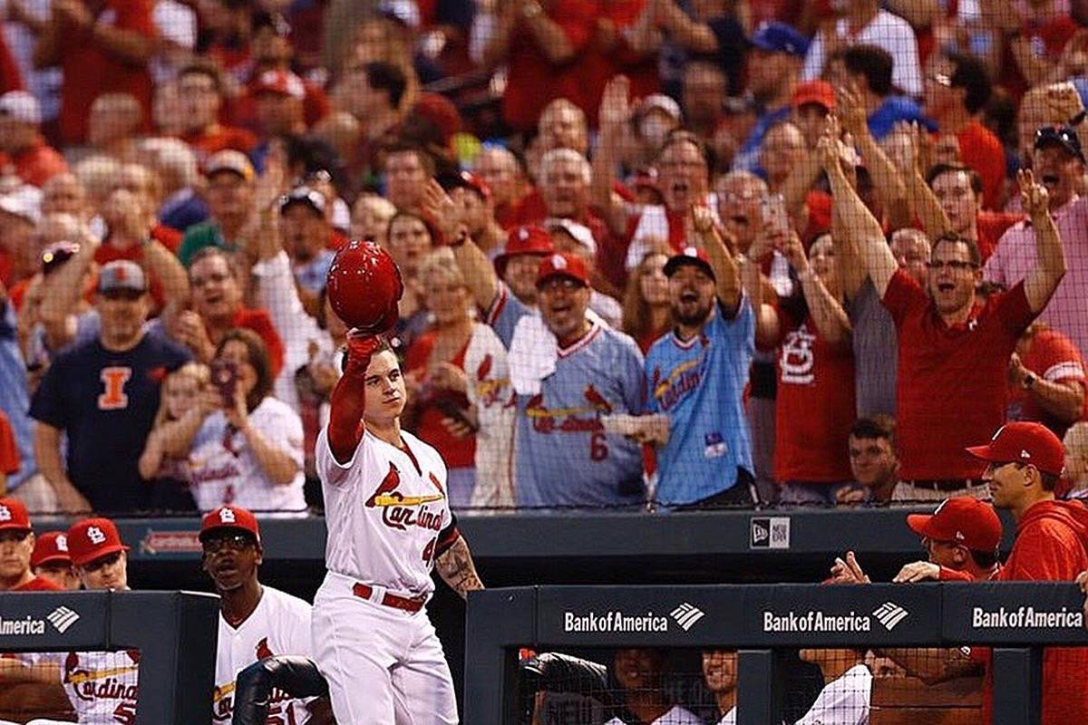 Tyler O'Neill tips his hat to the cheering St. Louis Cardinals crowd after hitting a home run in his third straight game. (Contributed)
