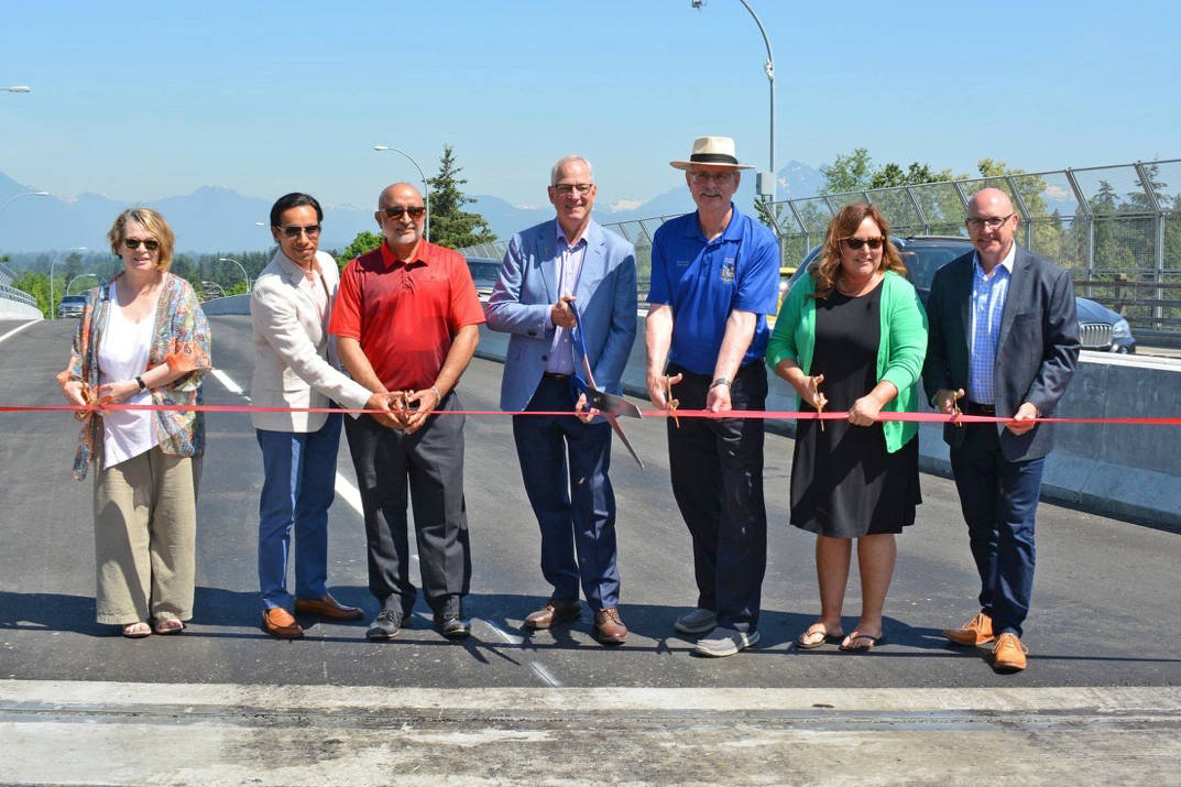 The new 208 Street overpass was officially opened on May 22 by (left to right) Township Councillor Petrina Arnason; McElhanney Consulting's Raj Singh, Bridge Design Manager; McElhanney Consulting's Dave Dulay, Project Manager; Township Mayor Jack Froese; and Township Councillors Charlie Fox, Angie Quaale, and Blair Whitmarsh. Engineer of Record Saqib Khan of McElhanney and other project partners were also on hand for the event. Submitted photo