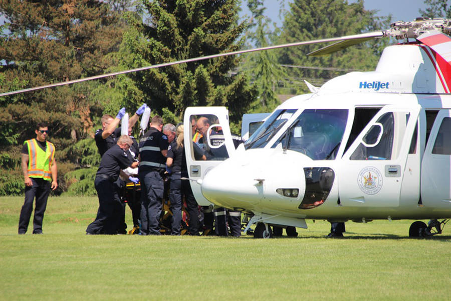 One man was airlifted to hospital after being reportedly stabbed in a building at an Abbotsford farm.                                Shane MacKichan photo.