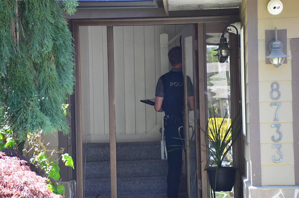 Police at the scene of shooting incident in Langley Township. Curtis Kreklau South Fraser News Service