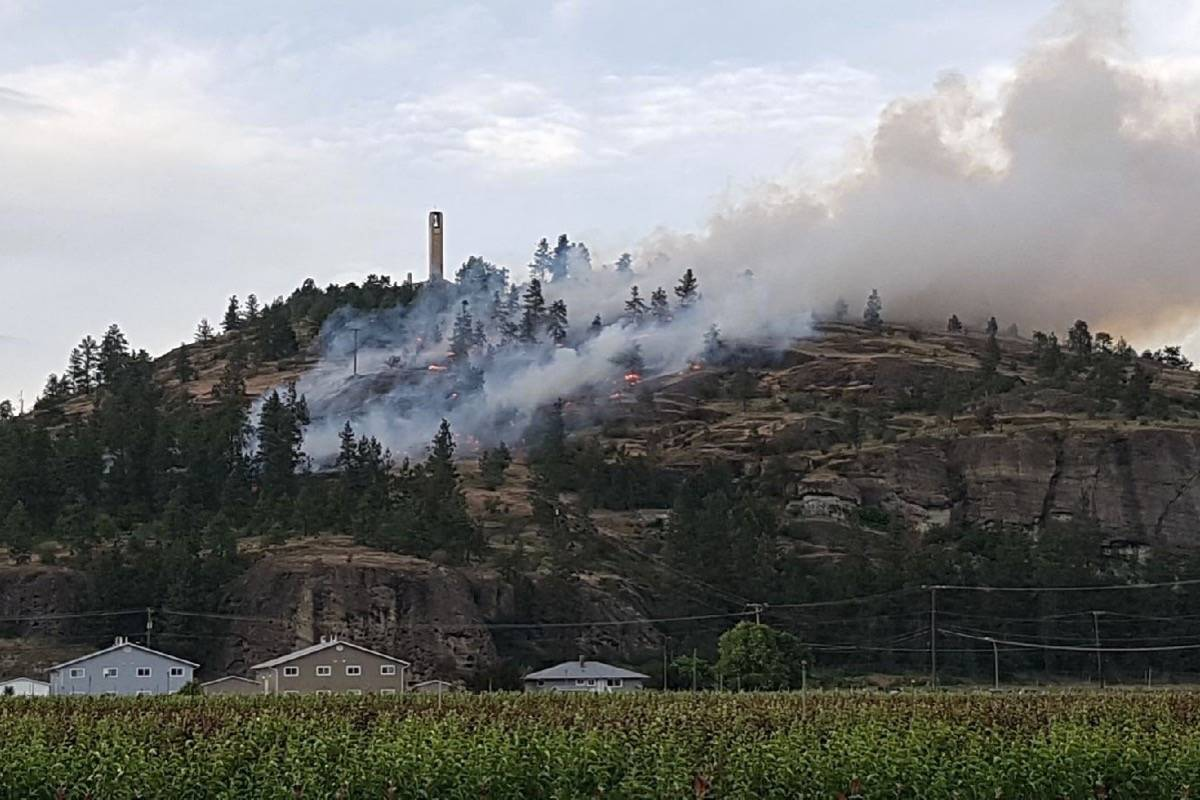 A West Kelowna subdivision below the Mission Hill Family Estate Winery saw homeowners forced to evacaute as a grassfire raced up the hillside. Photo: Capital News files