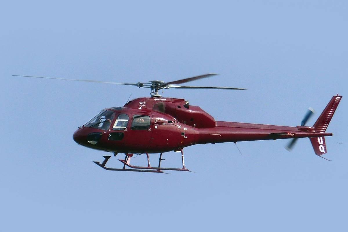 A Eurocopter AS355, similar to the one shown, caused a forest fire north of Pitt Lake Sunday. (Flickr)
