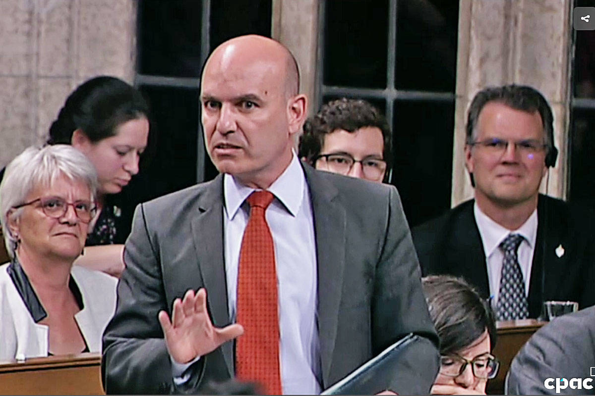 Skeena-Bulkley Valley MP Nathan Cullen questions Prime Minister Justin Trudeau decision to purchase the Kinder Morgan pipeline in the House of Commons on May 30. (CPAC photo)