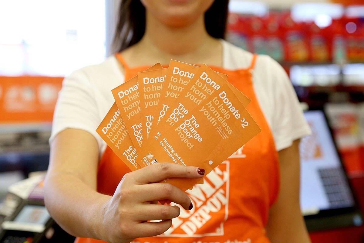 The Orange Door Project is on at the Langley Home Depot until June 24. The store will sell paper doors for $2 each, with proceeds going to support Encompass Services Society.