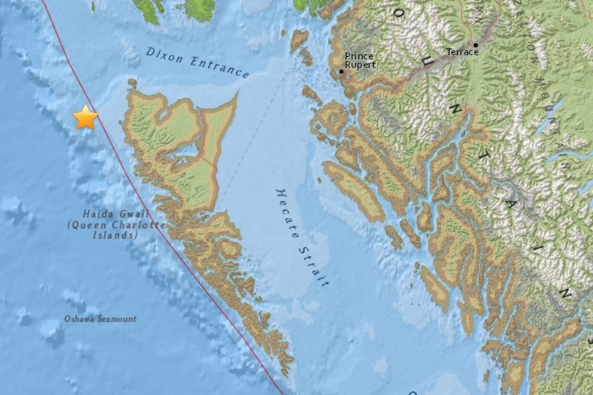 A map of the epicentre of Saturday's small earthquake off the B.C. Coast. (US Geological Survey)