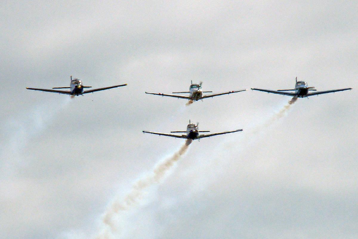 Fly-past by Fraser Blues over Memory Grove. Dan Ferguson Langley Times