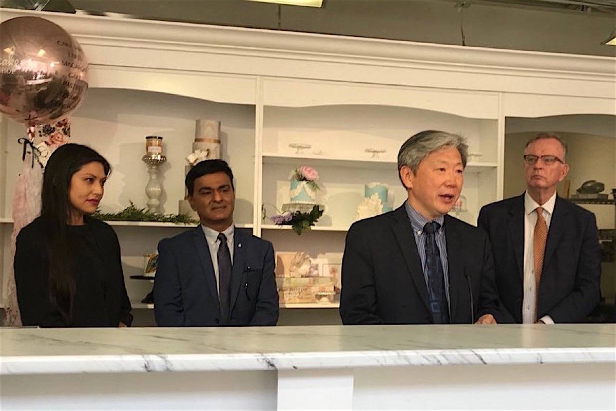 B.C. Jobs Minister Bruce Ralston (right) introduces small business task force members, Cybel Negris, CEO of Webnames.ca, Shahraz Kassam, owner and CEO of Shamin Diamonds and Michael Hwang, founder of Amicus Lawyers, May 2, 2018. (B.C. government)