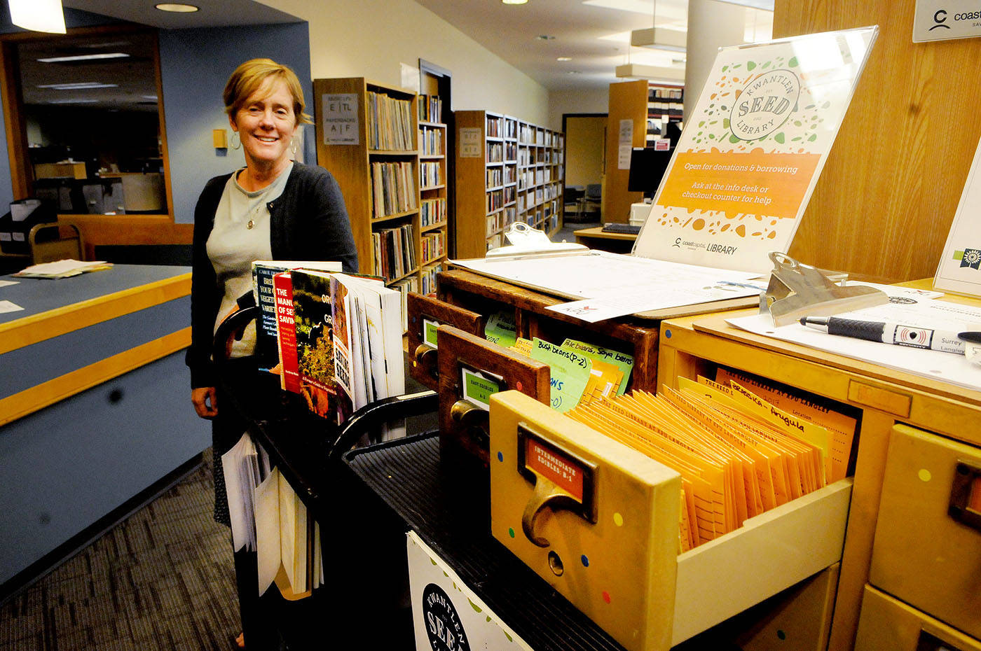 Kwantlen Polytechnic University librarian Celia Brinkerhoff is helping to coordinate the Seed Library at the university. Troy Landreville Langley Times