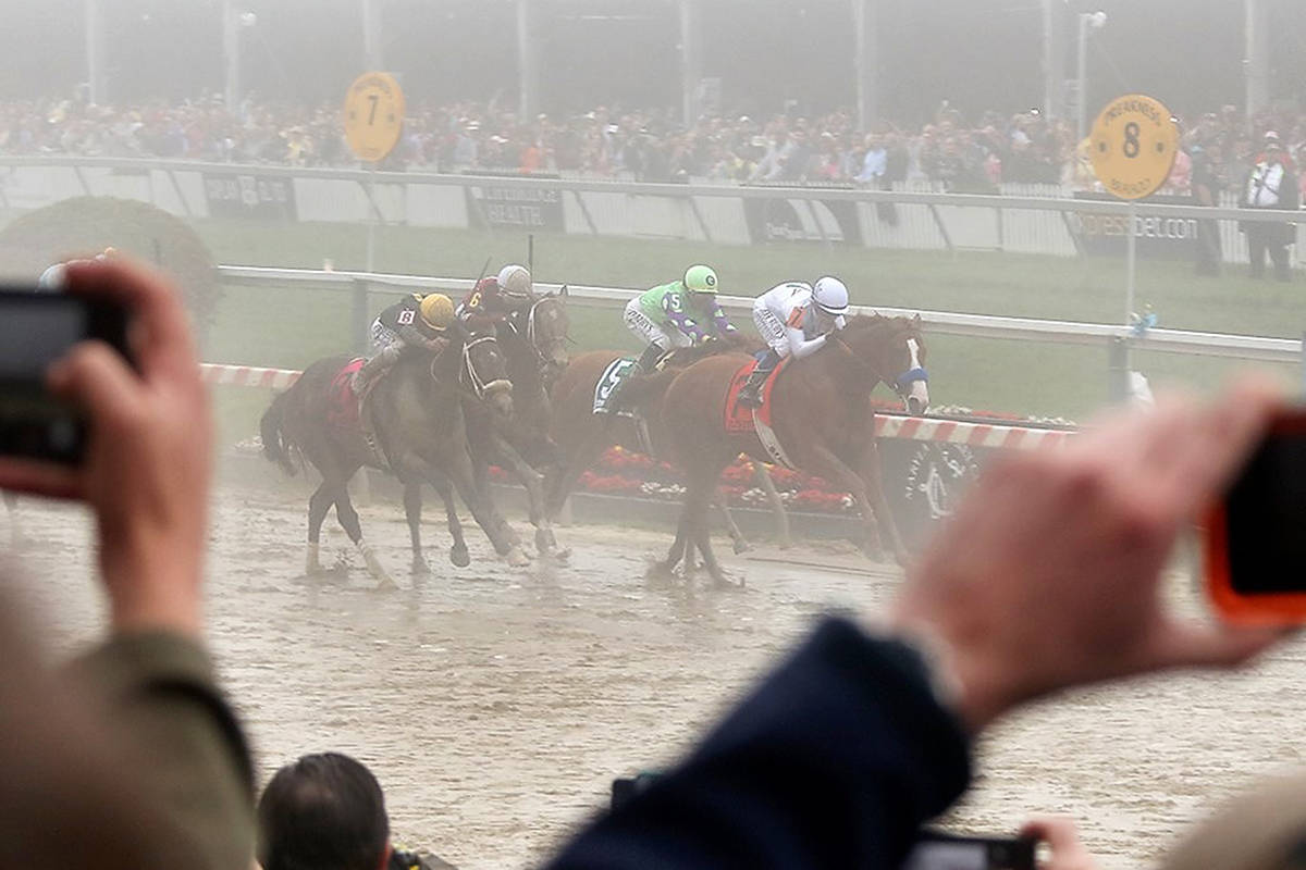 Justify takes the Preakness in the fog. Wikipedia Commons image courtesy Maryland GovPics