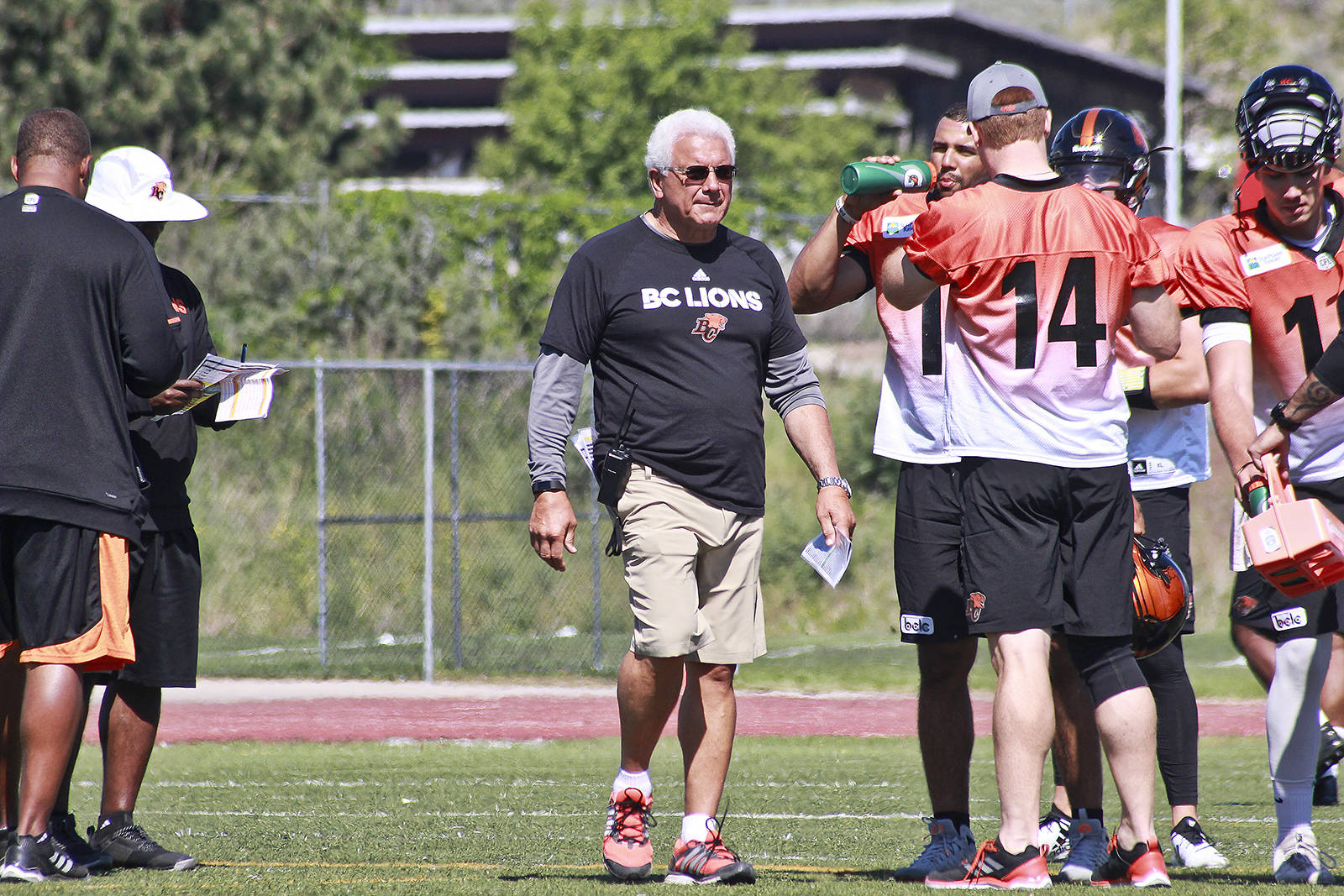 Dave Eagles photo                                BC Lions head coach Wally Buono runs a session of training camp in Kamloops last month. Buono is entering his final season on the CFL sidelines.