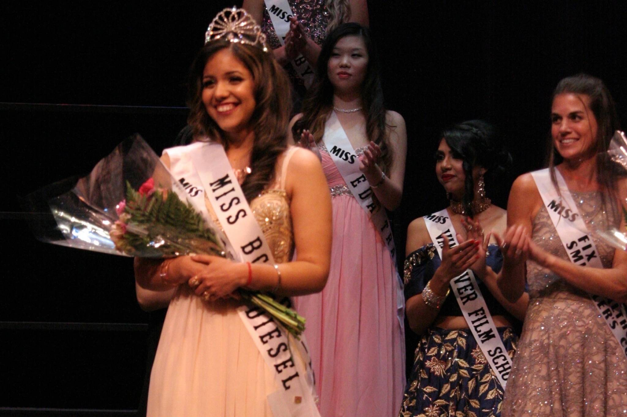 2017 Miss BC winner, Arshdeep Purba from Surrey poses on stage at the Chief Sepass Theatre in Fort Langley during last year's pageant finale (Photo courtesy of Maninder Purba)