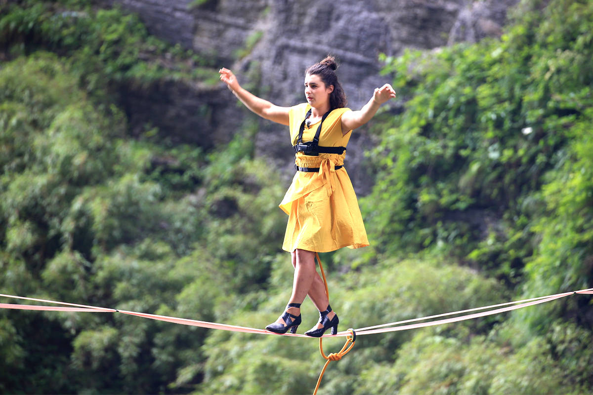 Nelson's Mia Noblet was invited to China to walk a highline…in heels. Photo submitted