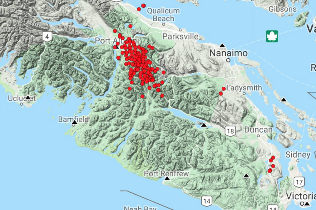 There have been more than 150 tremors during the past 24 hours stretching from the Alberni Valley to Cowichan. (Photo John Cassidy and pnsn.org)