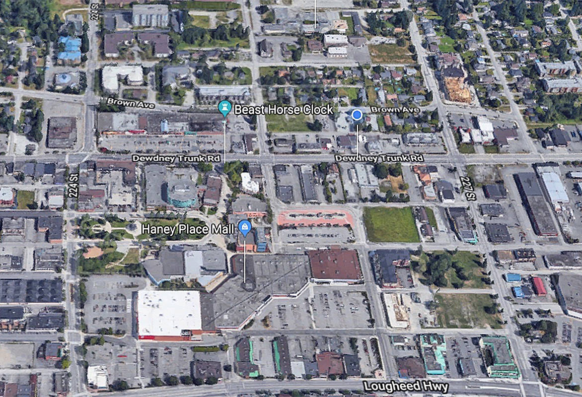 Both incidents occurred in downtown Maple Ridge. (Google map)