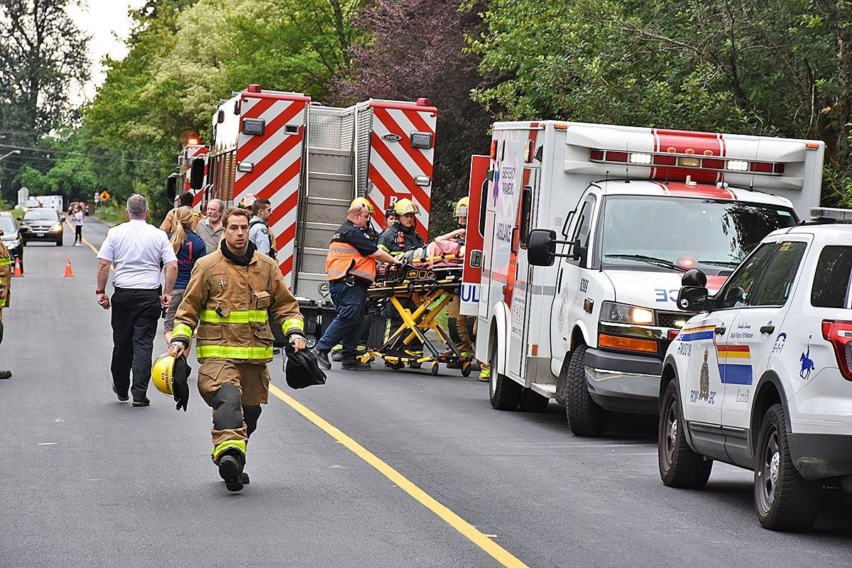 A person injured when a horse was hit by a car was taken to hospital by ambulance, but was conscious and speaking with emergency responders. (Neil Corbett/THE NEWS)