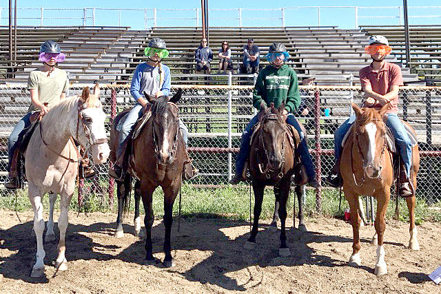 Lauren McGee, Marina Jardine, Georgia Currie and Calvin Forbes sport some fun shades atop their horses at the Armstrong IPE grounds Wednesday during the 4H Okanagan Stock Show. (Submitted Photo)