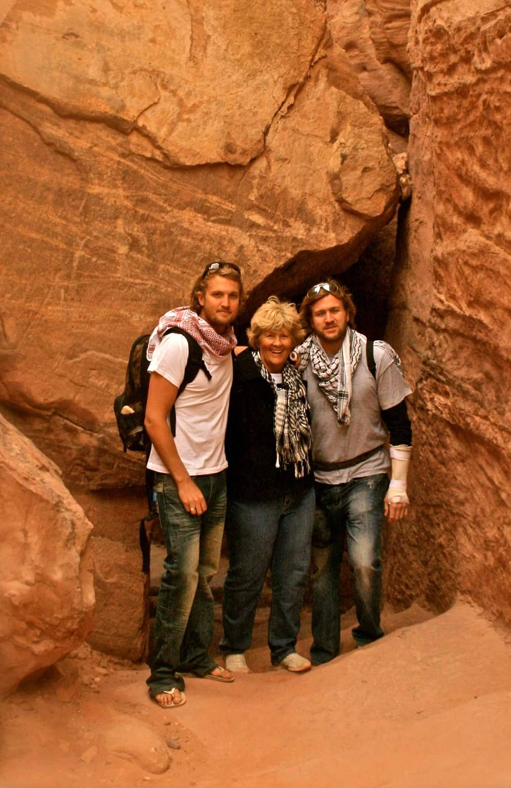 Brothers Erik and Kirk Brown grew up travelling the world together. Here they are pictured with their mom, Dorothy, in Petra, Jordan. Photo courtesy of Kirk Brown