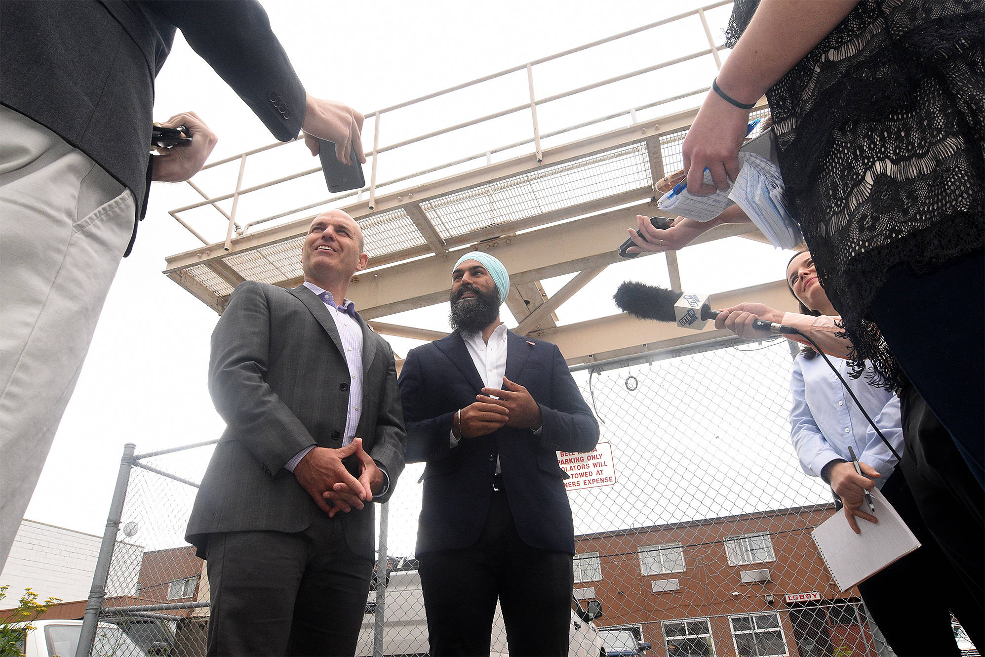 Federal NDP Leader Jagmeet Singh and Skeena-Bulkley Valley NDP MP Nathan Cullen meet with press in Terrace, B.C., during Singh's tour of the Northwest. (Quinn Bender photo)